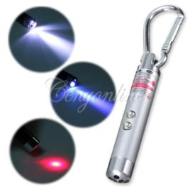 Key chain Laser pointer with Flashlight and UV light